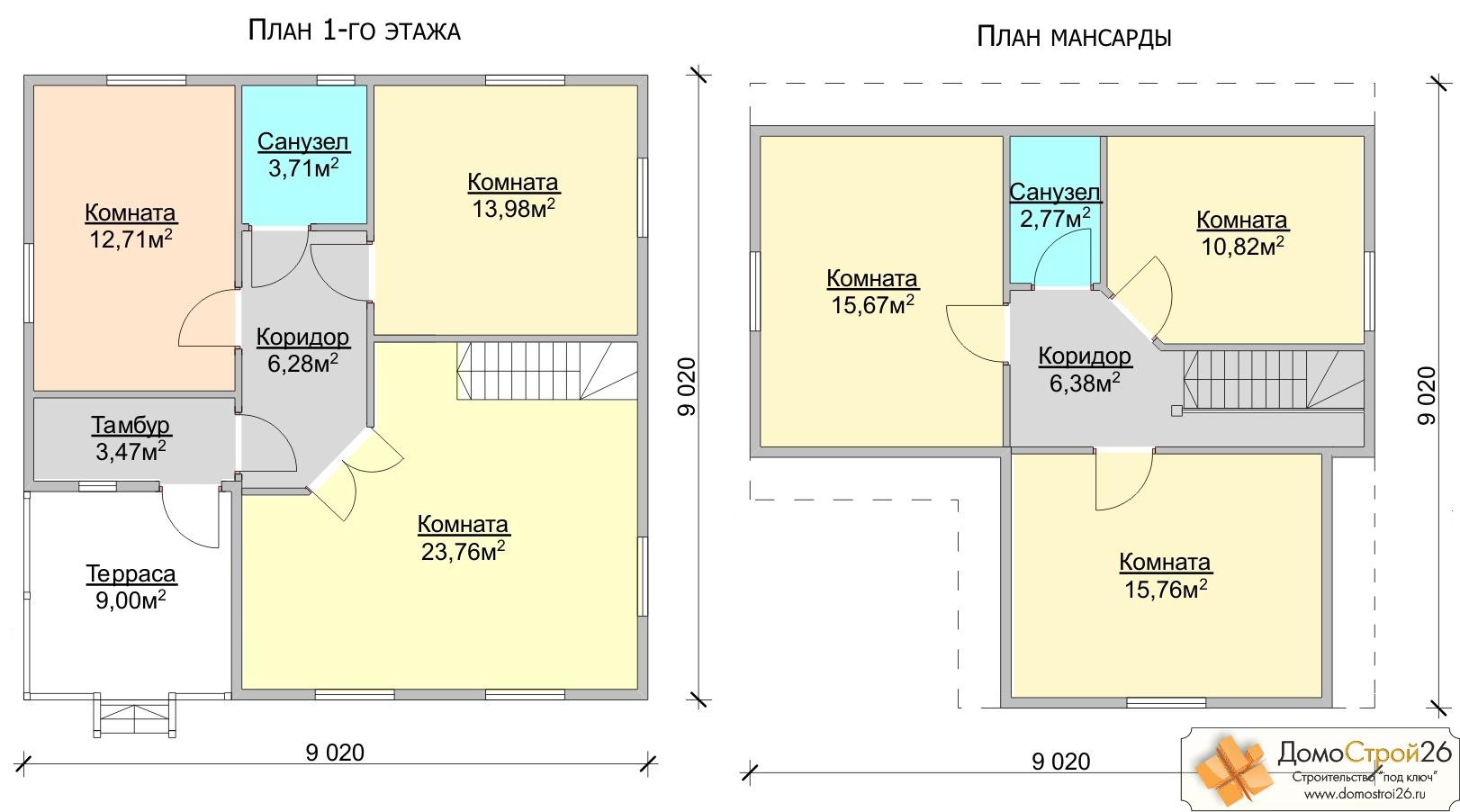 схема дачного дома 6*6