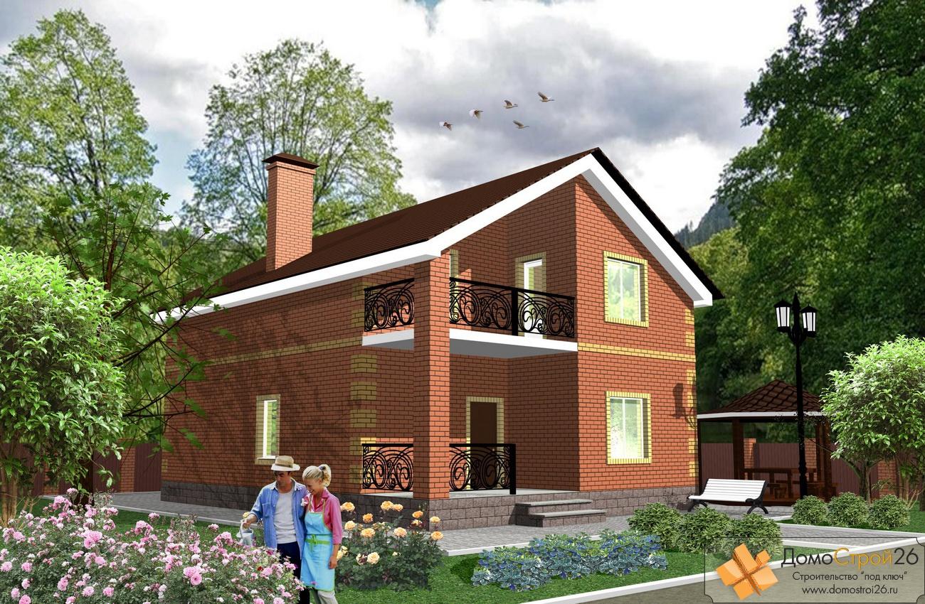 Дома кирпичные с балконом..