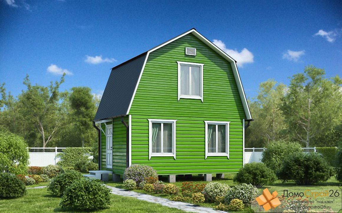 Дачный дом 5х7 с мансардой проект Уютный 2